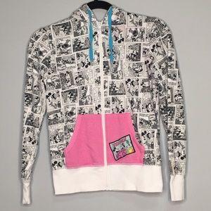 DISNEY PARKS XS comic Mickey Minnie grey hoodie
